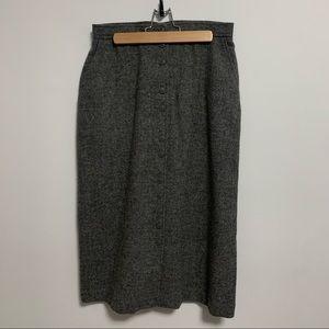 Virgin wool vintage midi button up skirt!
